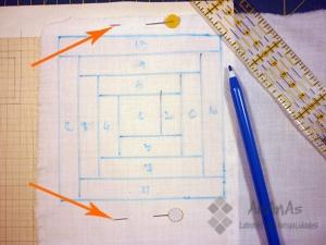 Log-Cabin-sujetar-con-alfileres-al-copiar-el-dibujo